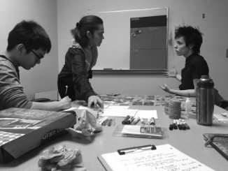 image of myself, a Cineworks member and my teammate at the co-creation workshop